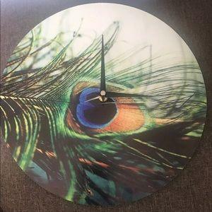 Peacock feather Wall Clock Kess Inhouse